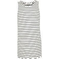 Girls cream stripe scalloped edge tunic