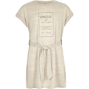 Girls beige unique slogan print tunic