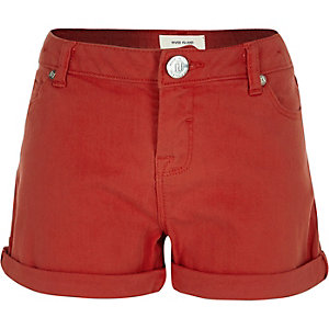 Girls red denim turn-up shorts