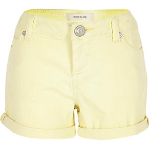 Girls yellow denim turn-up shorts