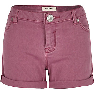 Girls pink denim turn-up shorts