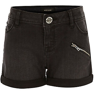 Girls black denim shorts