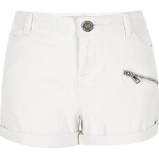 Girls white denim shorts