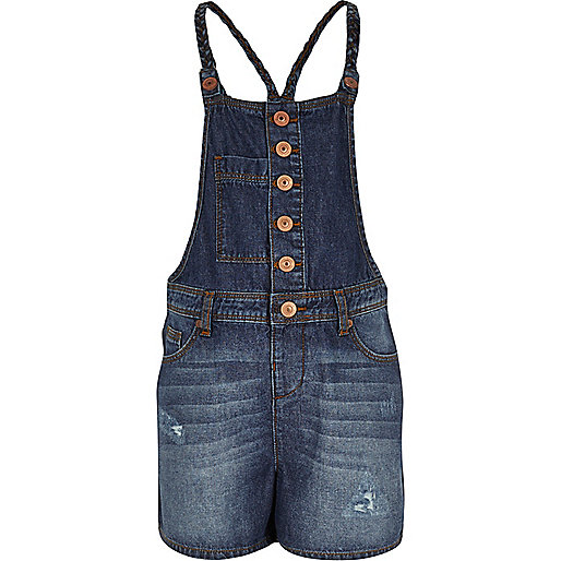 Girls dark denim overall romper