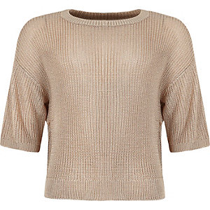 Girls beige boxy knitted sweater