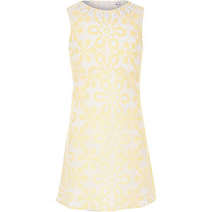 Girls yellow embellished lace dress