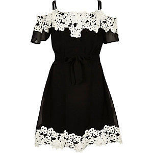 Girls black lace bardot dress