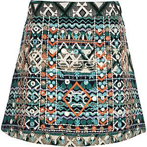 Girls blue embellished A-line skirt