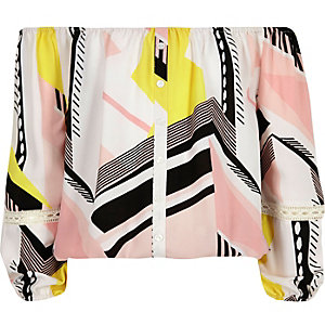Girls ink geometric print bardot top