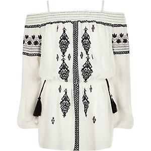Girls cream embroidered bardot top