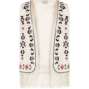 Girls cream embroidered tassel vest