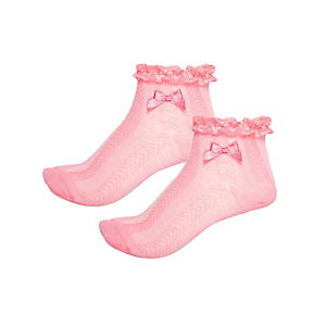 Girls pink frilly socks pack