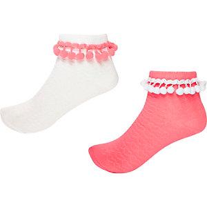 Girls mixed pom pom socks 2 pack