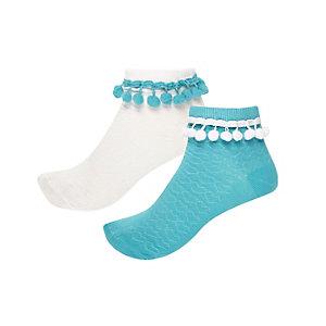 Girls blue pom pom socks pack