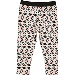Mini girls pink jacquard leggings