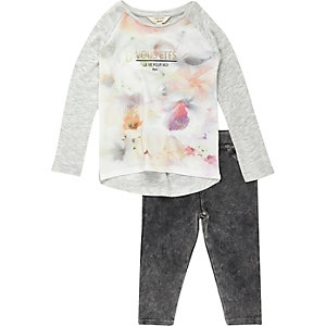 Mini girls floral t-shirt leggings outfit
