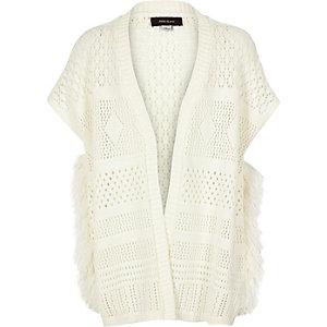 Girls white fringed poncho cardigan