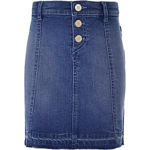 Jupe en jean bleu moyen délavé à boutons pour fille