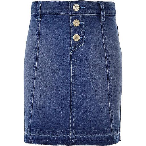 Girls mid blue wash buttoned denim skirt