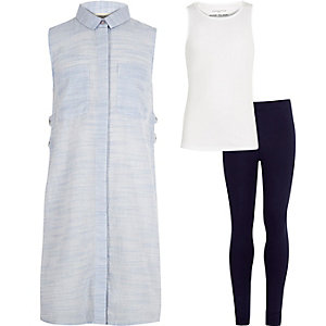 Girls blue shirt vest leggings outfit