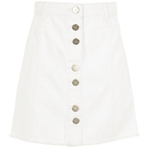 Girls white button-up A-line skirt