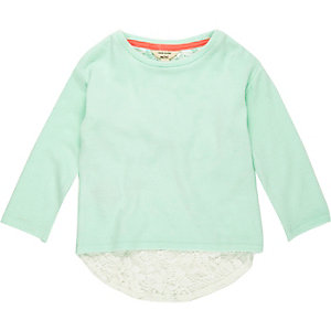 Mini girls green slouchy top