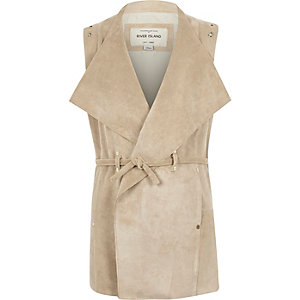 Girls beige faux suede sleeveless jacket