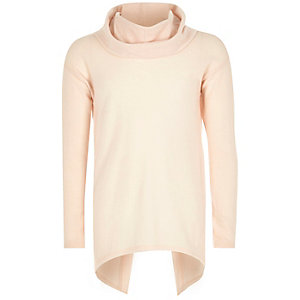 Girls pink cowl neck open back top