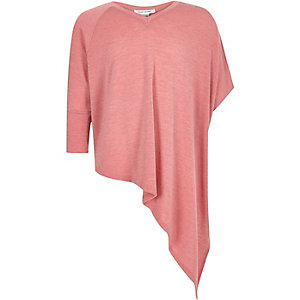 Girls pink knitted asymmetric top