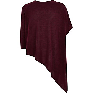 Girls dark red knitted asymmetric top