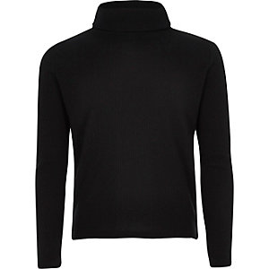 Girls black ribbed roll neck top