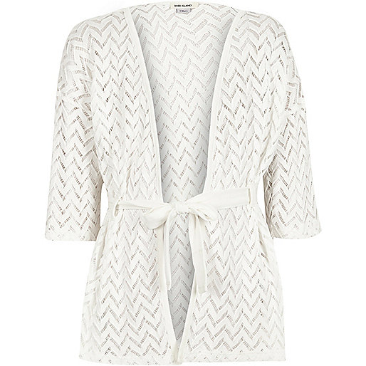 Girls cream lace belted cardigan