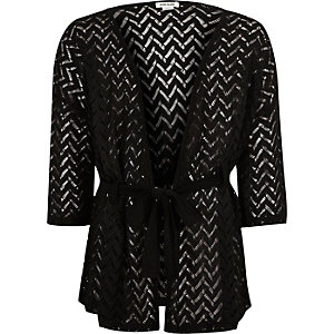 Girls black lace belted cardigan