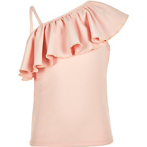 Girls pink frilly one shoulder top