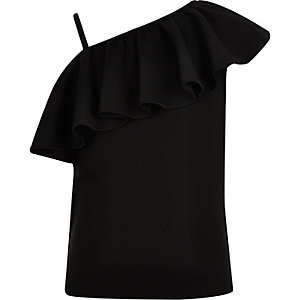 Girls black scuba frilly one shoulder top