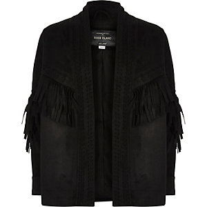 Girls black faux suede cover up