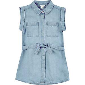 Girls blue shirt dress