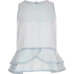 Girls light blue ruffle top