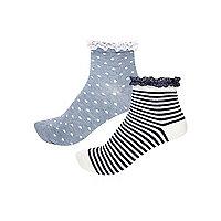 Girls blue pattern frilly socks multipack