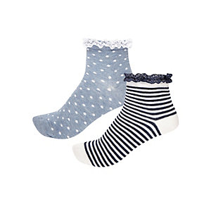 Girls blue pattern frilly socks multipack