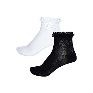 Girls white and black frilly socks pack