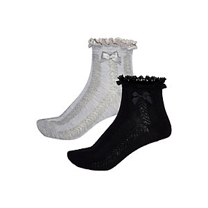 Girls black and grey frilly socks pack