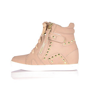 Girls pink studded wedge trainers