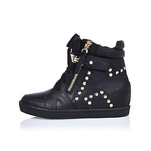 Girls black studded high top sneakers