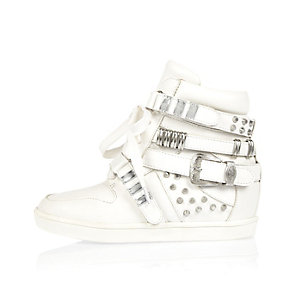 Girls white studded high top sneakers