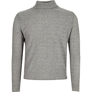 Girls grey ribbed roll neck top