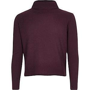 Girls dark purple ribbed roll neck top