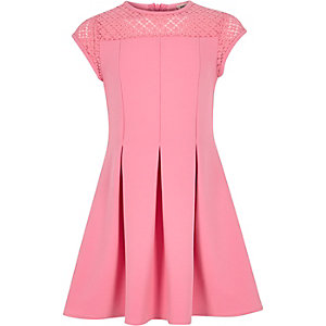Girls pink lace neck skater dress