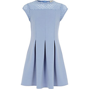 Girls blue lace skater dress