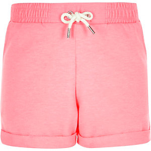 Girls fluro pink boxy shorts